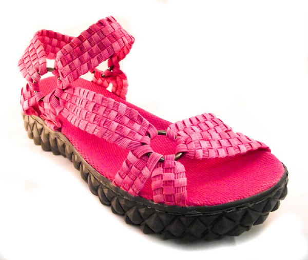 Adesso all elastic washed fuchsia pink coloured summer sandal